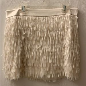 Express White Fringe Skirt